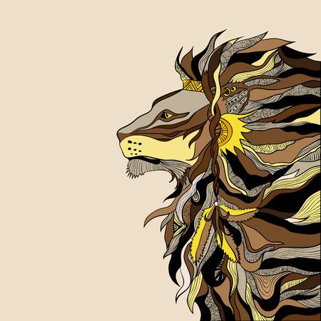 shaman: Illustration of decorative detailed lion shaman Illustration