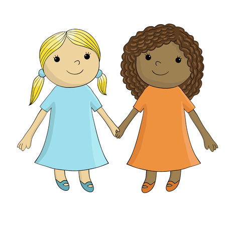 Vector illustrations of two girls who are friends