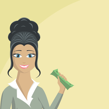 rich girl: Happy business woman with money in her hand Illustration