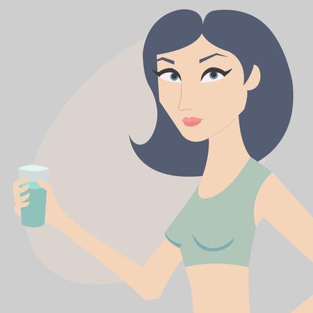 simbolo de la mujer: Ilustración del vector. Mujer joven con un vaso de agua en la mano