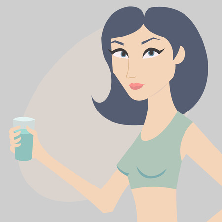 cartoon women: Vector illustration. Young woman with a glass of water in her hand