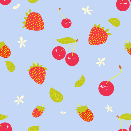 Juicy berries and a summer seamless pattern. Can be used as background for textiles or paper wrapping