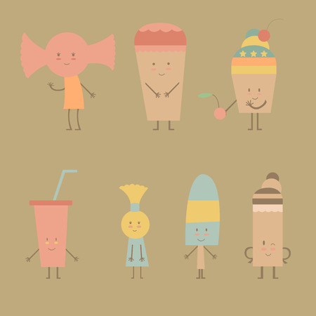 goodies: Collection of cute candy and ice cream Illustration