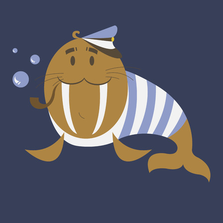 blue bubbles: Funny captain walrus is ready to travel. Simple cartoon captain walrus blows bubbles through the tube