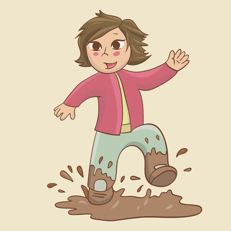 sympathetic: Little kid jumping and playing in the mud puddle