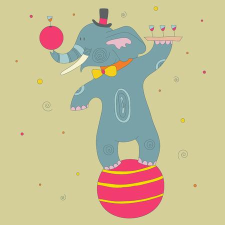tusks: Cute cartoon circus  elephant balancing on the ball