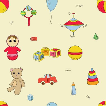 perinola: Vector sin patr�n con diferentes juguetes: oso, cubos alfabeto, pir�mide, perinola, juguete roly-poly.
