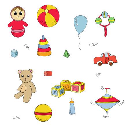molinete: Vector conjunto de juguetes para los ni�os: oso, cubos alfabeto, pir�mide, perinola, juguete roly-poly. Vectores