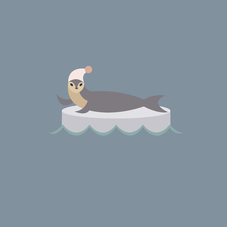 floe: Vector illustration with sea calf who laying on the ice floe