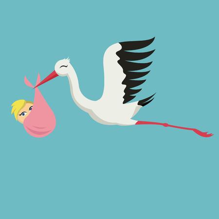 Bella scheda con cicogna e bambino sul cielo blu.