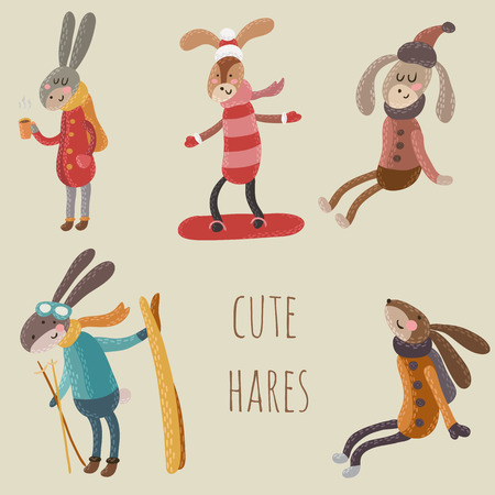 hares: Set of cute and funny hares in sweaters