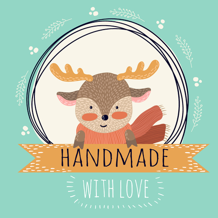 fawn: Cute card with funny fawn for handmade gifts Illustration