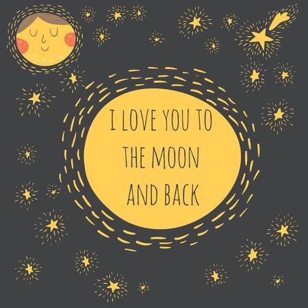 romantic: Sweet romantic card with moon
