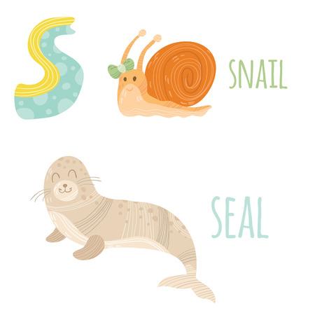 children s book: Funny animal card with letter S for children Illustration