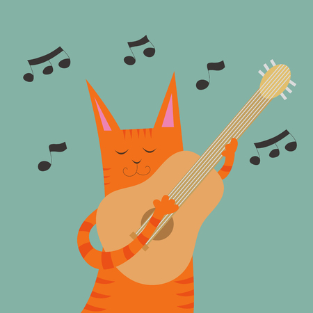 serenade: Vector illustration with cute cartoon funny cat with guitar Illustration