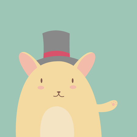 hamster: Vector illustration of cute funny cartoon hamster in hat
