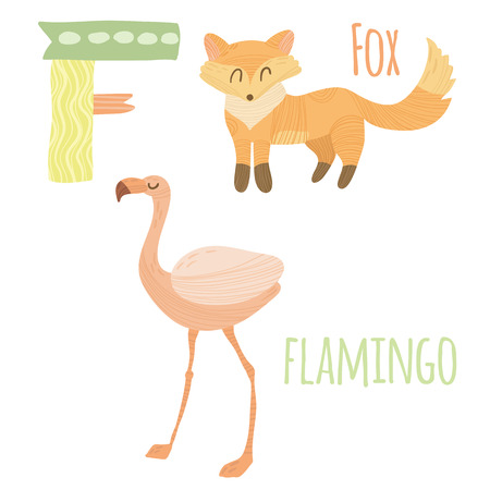 Funny animal card with letter F for children
