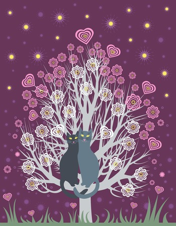 virágzó: Greeting Card with two in love cats on a spring, flowering tree Illusztráció