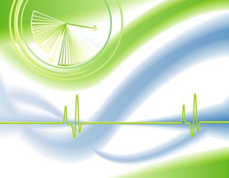 researches: White blue and neon green modern background with cardiogram and clock Illustration