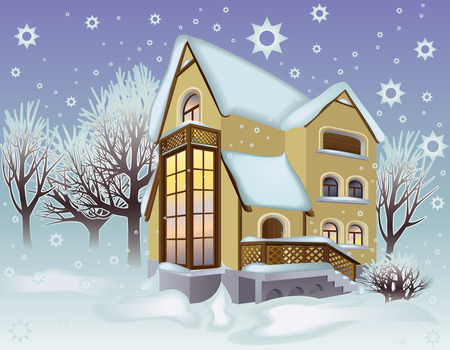 snowdrifts: Paesaggio invernale con un cottage e alberi di neve