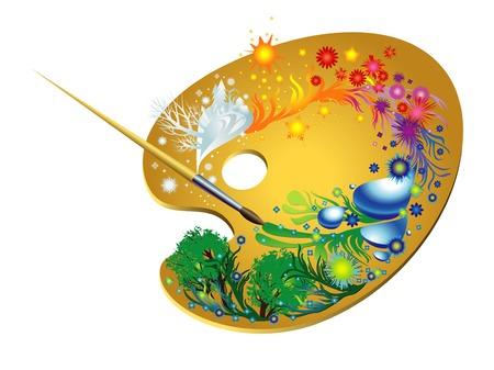 Paleta mágica del artista y imágenes pintorescos