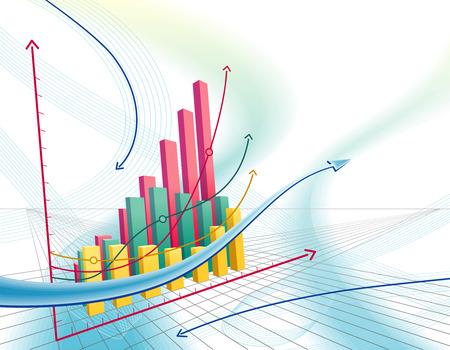 Illustrazione moderna e dinamica con astratto business graph