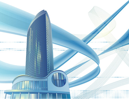 A modern sky-scraper is in the abstract cityscape Illustration