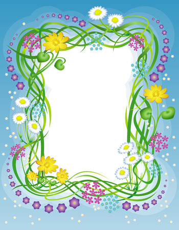 Decorative frame with the grass and a grass and summer field flowers flowers Illustration