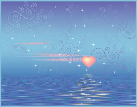 Valentine greeting card with a heart on a background sky and sea