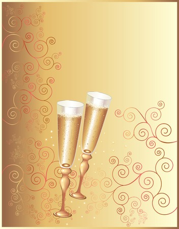 champagne flute: Holiday background with a �hampagne flutes Illustration