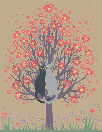 Greeting Card with two in love cats on a spring, flowering tree Illustration