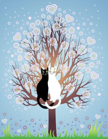 Greeting Card con due gatti amore su una molla, albero di fioritura