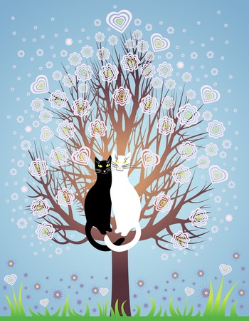 endearment: Greeting Card with two in love cats on a spring, flowering tree Illustration