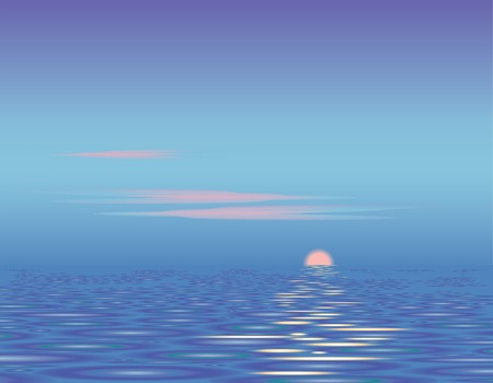 Sunset above the sea. Calm. Vector background.