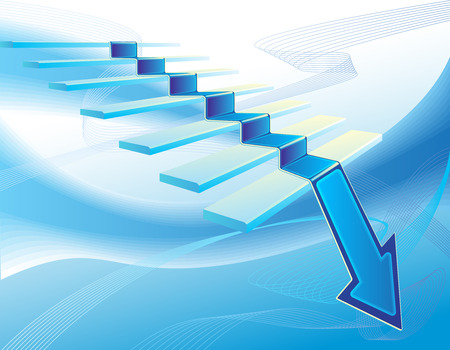 Business abstract illustration with stair and blue arrow