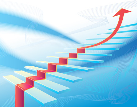 advancement: Background with stair and red arrow