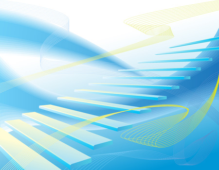 constructing: Light blue abstract geometrical background with stair Illustration