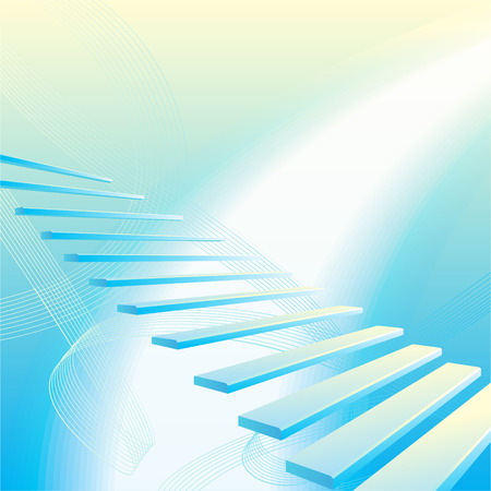 Light blue abstract geometrical background with stair Illustration