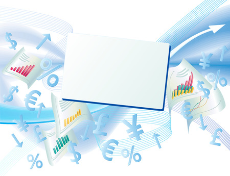 The currency signs and business chart is in the abstract background  Illustration