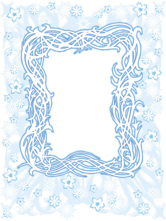 Light blue winter frame with snowflakes and flowers