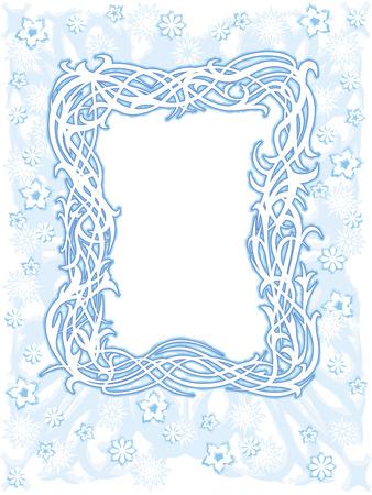 Telaio leggero inverno blu con fiocchi di neve e fiori