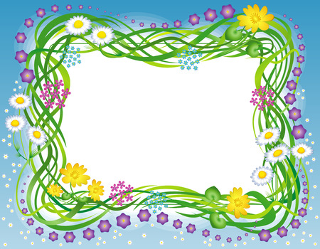 Decorative frame with the grass and summer field flowers