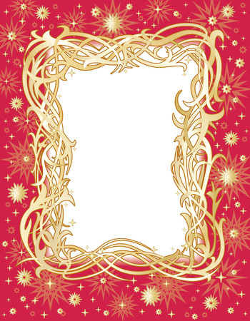 Red and gold holiday frame with stars Vector