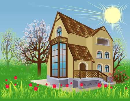 housetop: House is in the spring garden Illustration