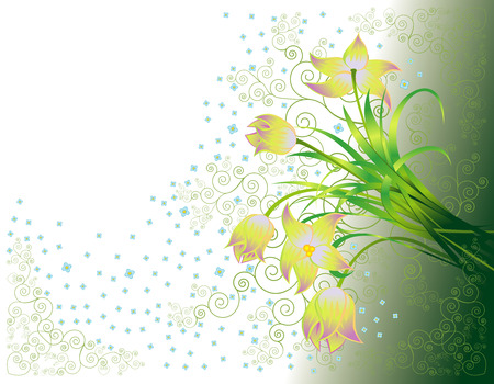 Biglietto di auguri con con tulipani gialli  Vettoriali