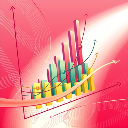 Modern, dynamic vector illustration with abstract business graph