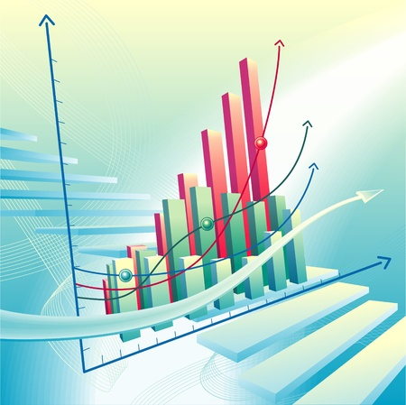Modern, dynamic vector illustration with abstract business graph Vector