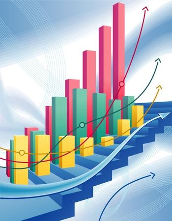 Illustrazione vettoriale di moderno, dinamico con astratto business graph
