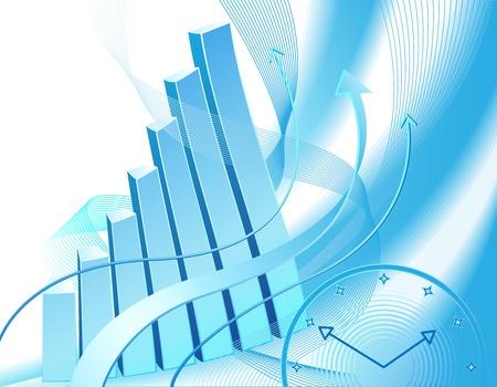 Abstract illustrazione con grafico di business e orologio