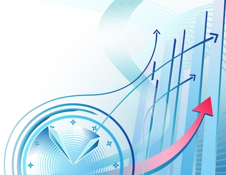 upward graph: Abstract illustration with clock and business chart